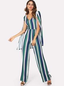 Cape Sleeve Wide Leg Jumpsuit