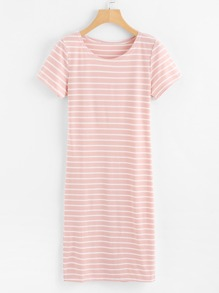 Round Neck Striped Tee Dress