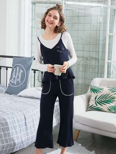 3Pcs Cat Embroidered Ribbed Pajama Set