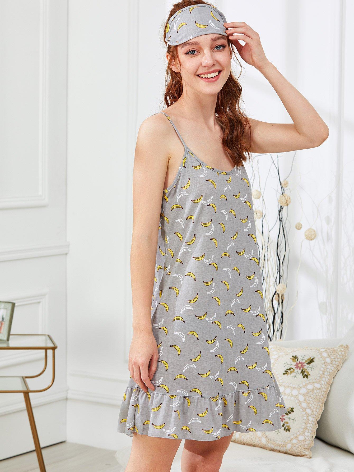 Купить Ночное платье с принтом банана и с ночной маской, Poly, SheIn