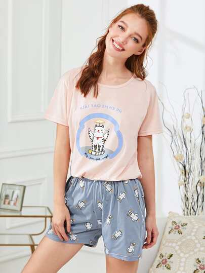 Cat Print Tee & Shorts PJ Set