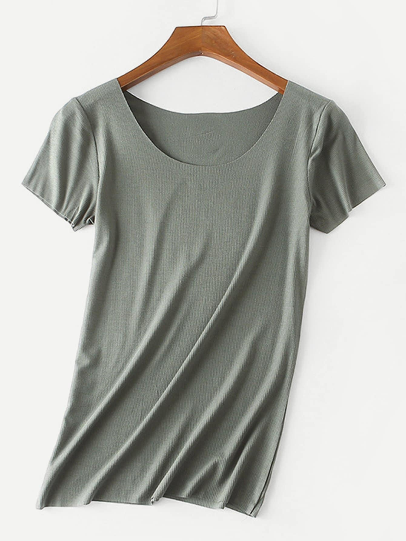 Solid Color Ribbed Tee night180329310