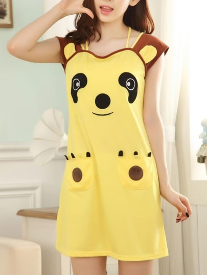 Bear Print Dual Pocket Dress