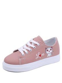 Cat Print Lace Up Canvas Shoes