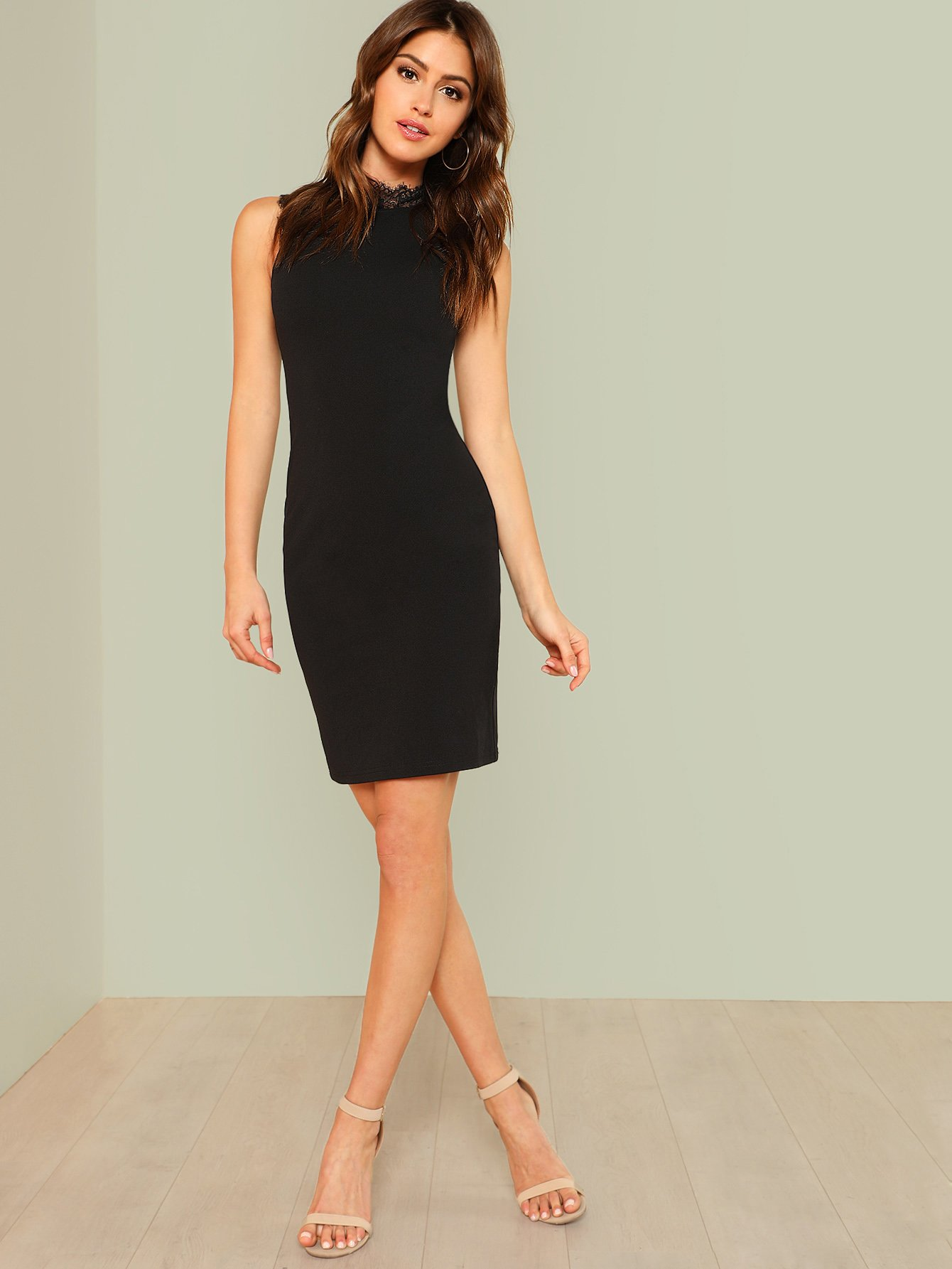 Lace Trim Form Fitted Dress