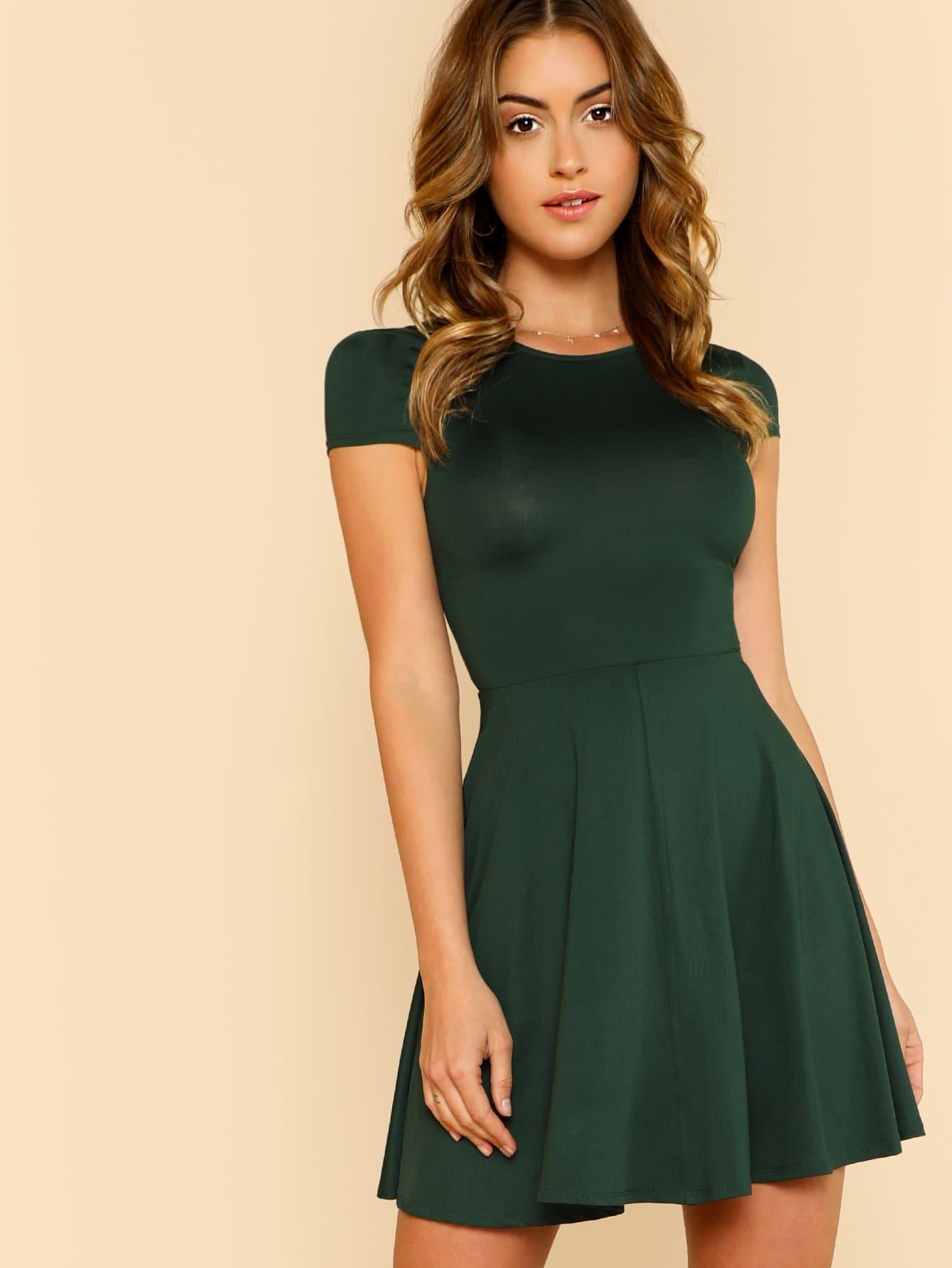 Open Back Fit & Flared Dress open back fit