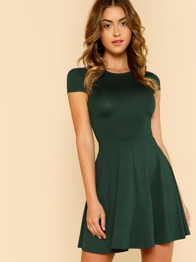 Cap Sleeve Fit & Flare Dress