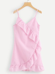 Gingham Ruffle Trim Cami Dress