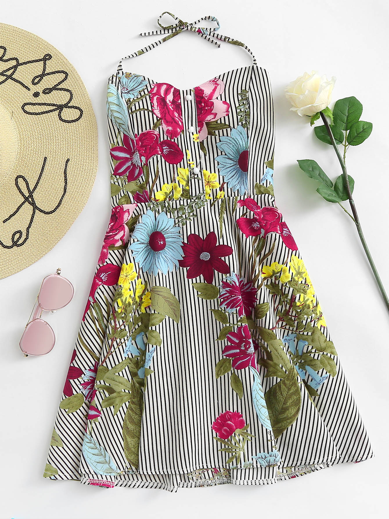 Floral Print Pleated Back Knot Halter Dress