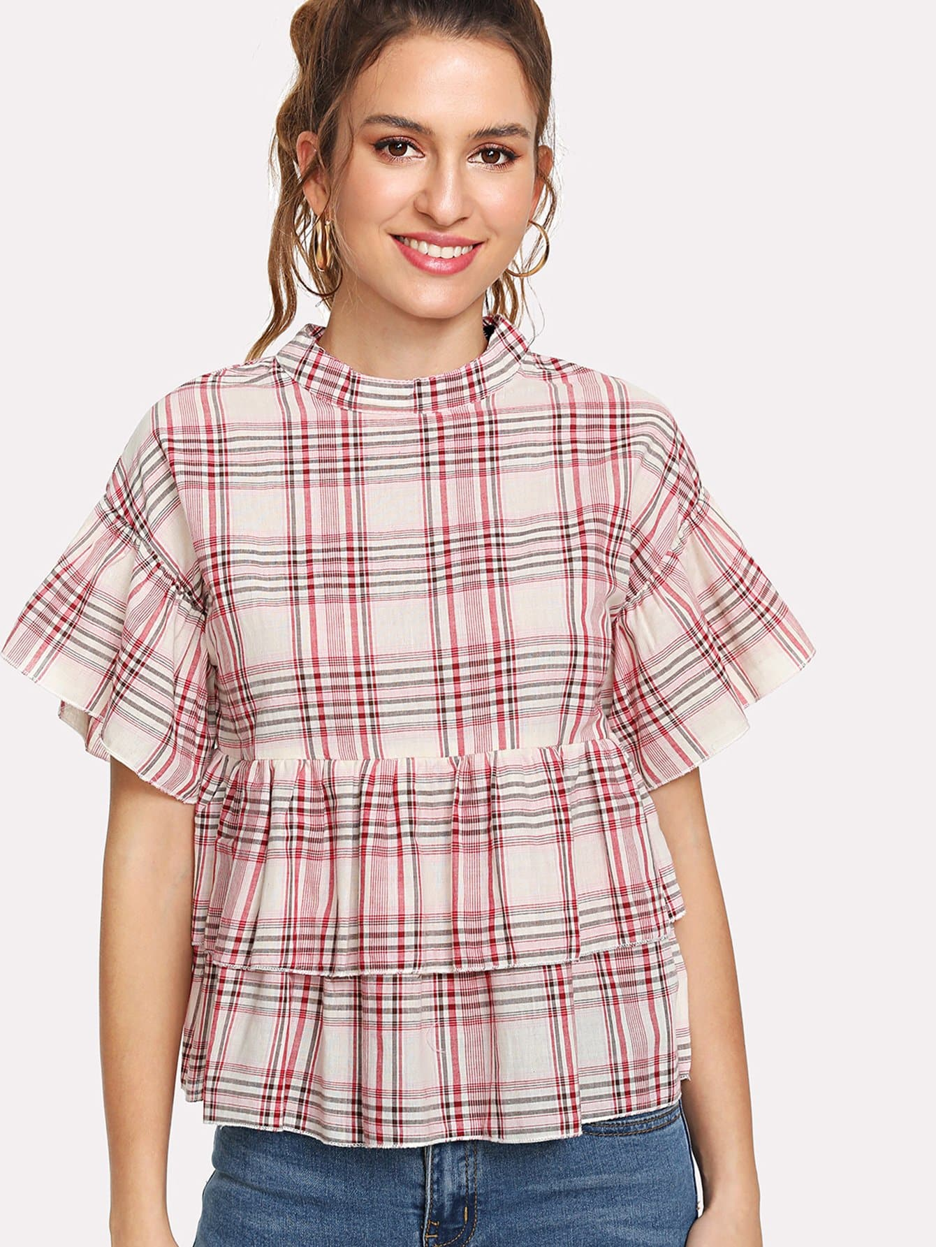 Layered Ruffle Plaid Smock Top pearl detail layered frill sleeve top