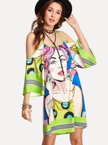 Mixed Print Kimono Sleeve Dress
