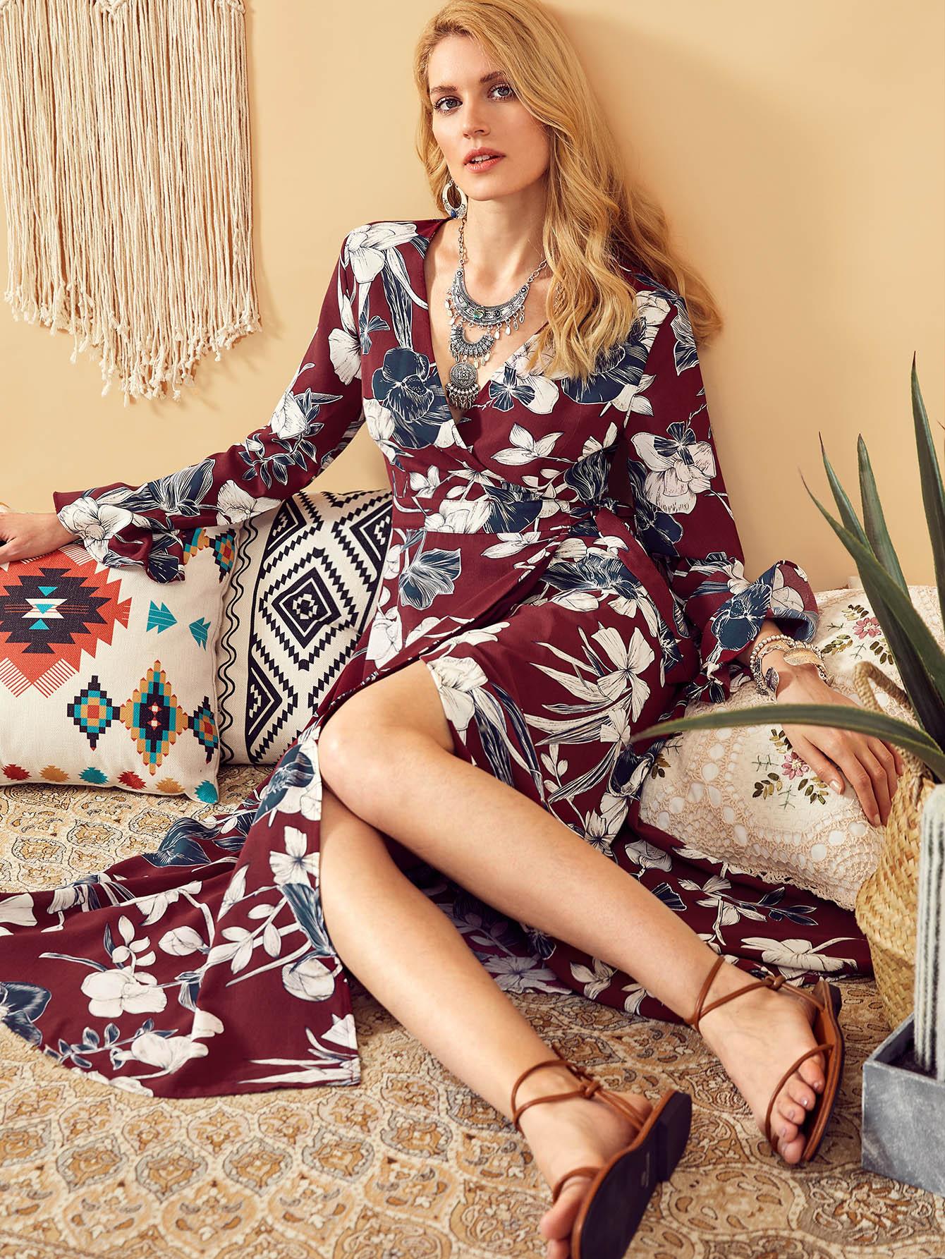 Surplice Wrap Botanical Dress botanical print surplice wrap dress