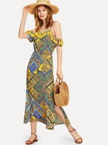 Patchwork Print Tasseled Cold Shoulder Dress