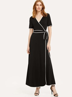 Contrast Binding Belted Wrap Dress