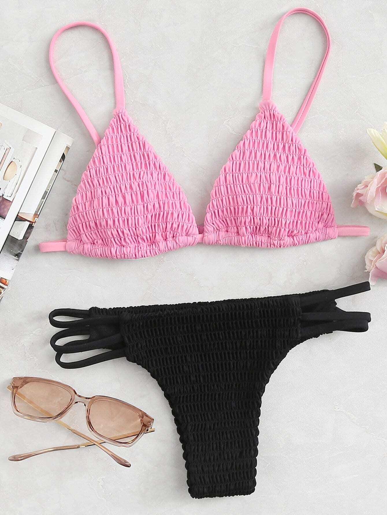 Two Tone Strappy Shirred Bikini Set drop crotch loose two tone pants