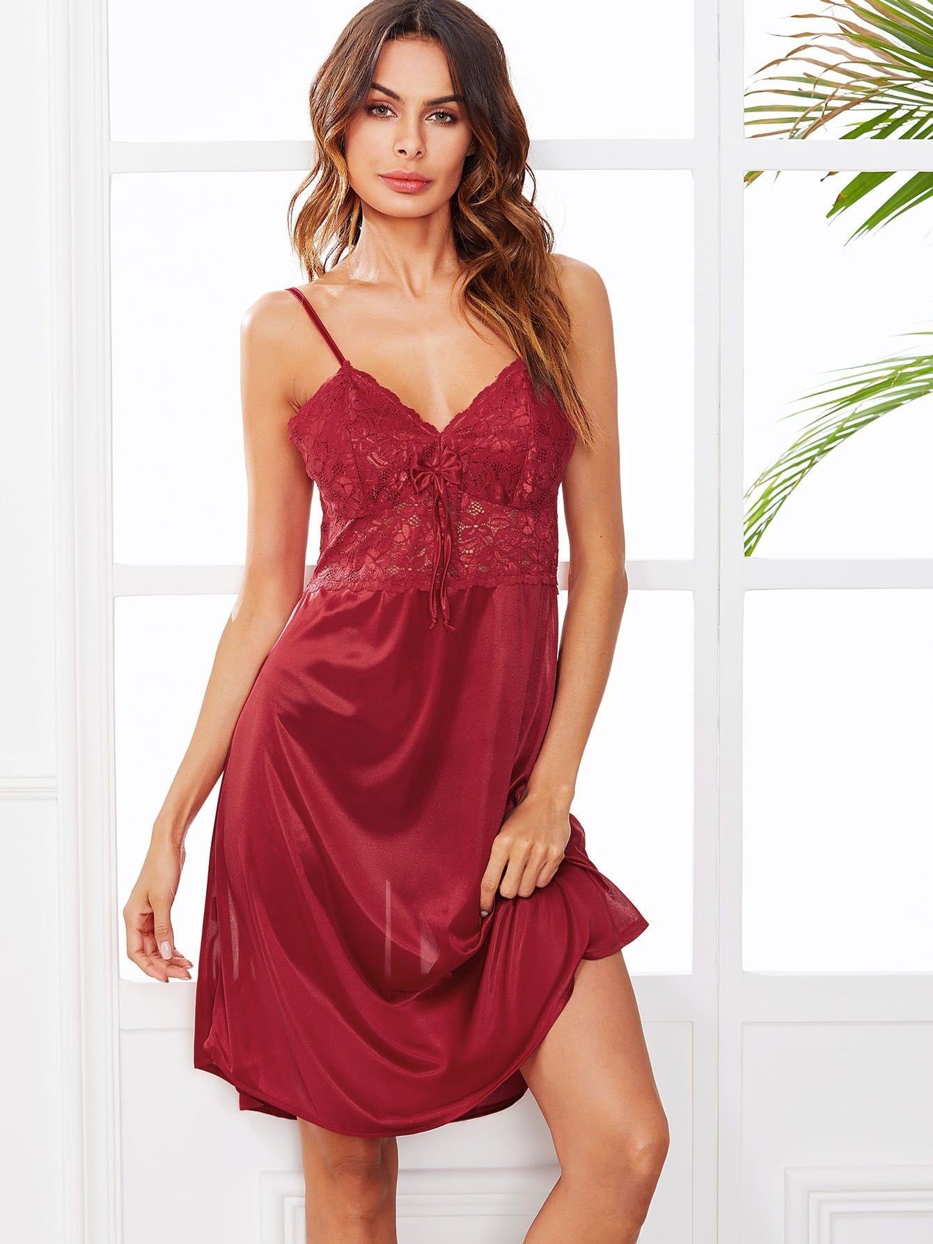 Lace Panel Cami Dress