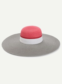 Color Block Design Floppy Hat