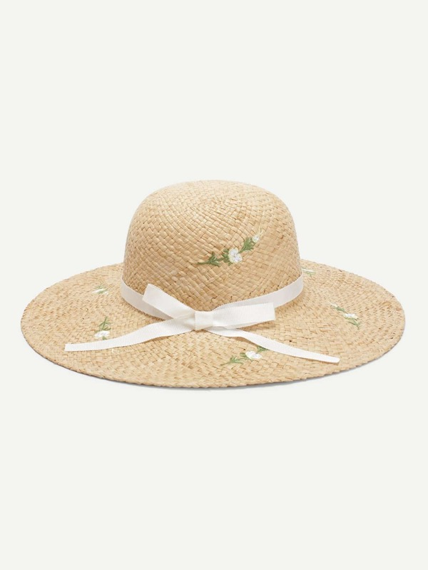 Bow Band Flower Decorated Straw Hat by Sheinside