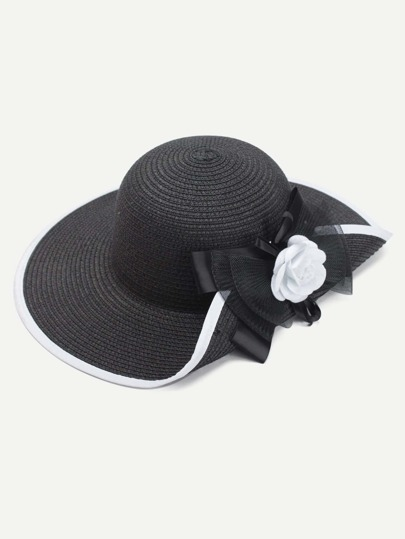 Flower Decorated Straw Hat With Bow