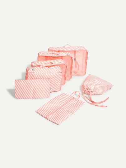 Striped Makeup Bag 7pcs