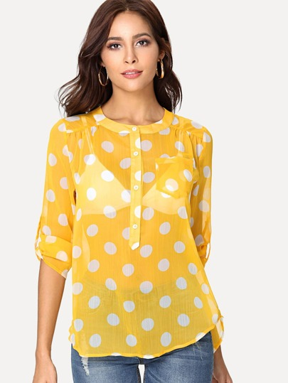Roll Tab Sleeve Polka Dot Top without Bralette