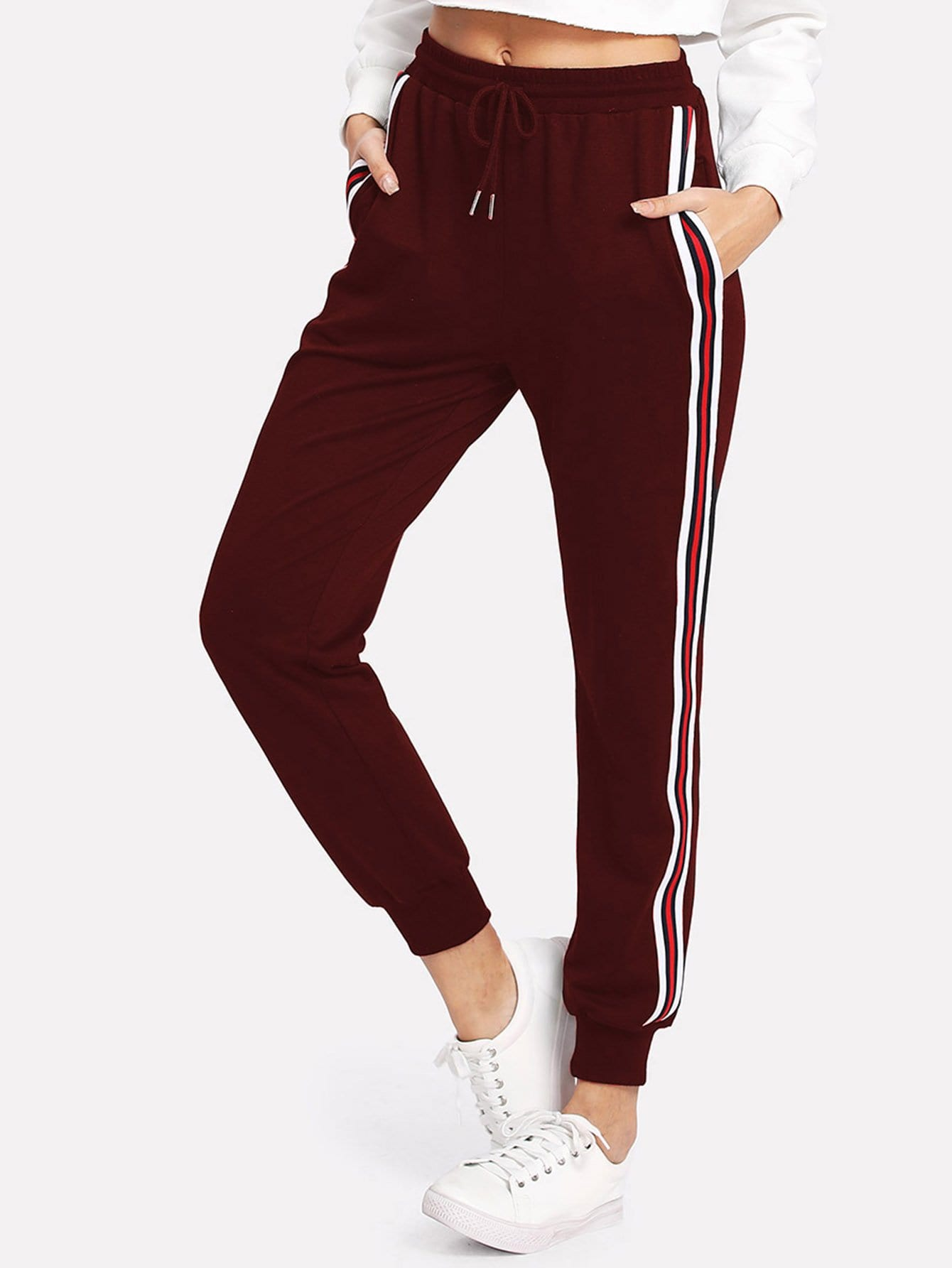 Striped Tape Side Drawstring Sweatpants contrast striped side sweatpants