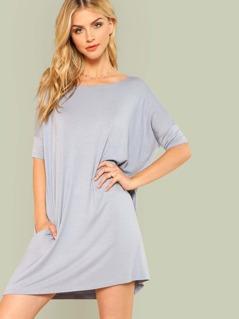 Boat Neckline T-Shirt Dress with Dual Pockets DENIM BLUE