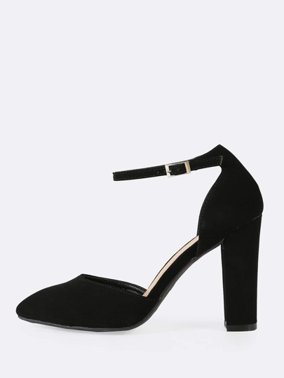 Faux Suede Pointy Toe Ankle Strap Chunky Heel BLACK