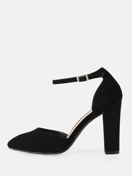 3fcf53d838406 Faux Suede Pointy Toe Ankle Strap Chunky Heel BLACK | MakeMeChic.COM