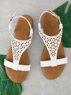 Perforated Sling Back Flat Sandal WHITE
