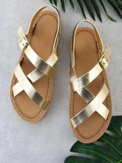 Asymmetrical Strap Sling Back Flat Sandal GOLD