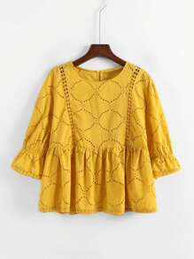 Eyelet Embroidered Babydoll Blouse