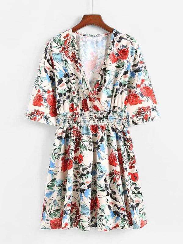 All Over Florals Surplice Neckline Dress all over florals dip hem shirt