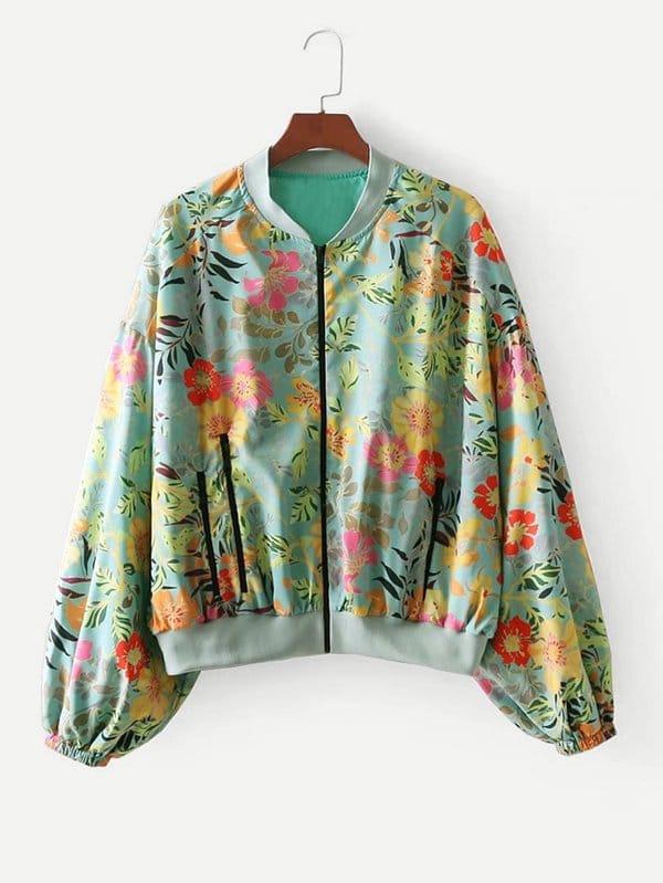 All Over Florals Drop Shoulder Jacket all over florals dip hem shirt