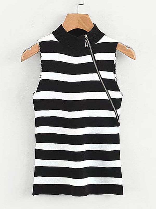 Contrast Stripe Zip Detail Sleeveless Jumper navy backless design stripe sleeveless middle waisted active tracksuit