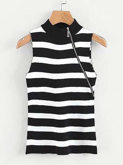 Contrast Stripe Zip Detail Sleeveless Jumper