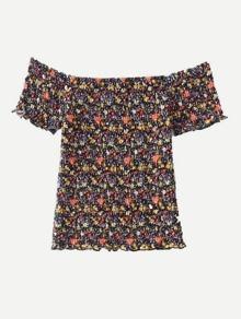 Bardot Calico Print Shirred Top