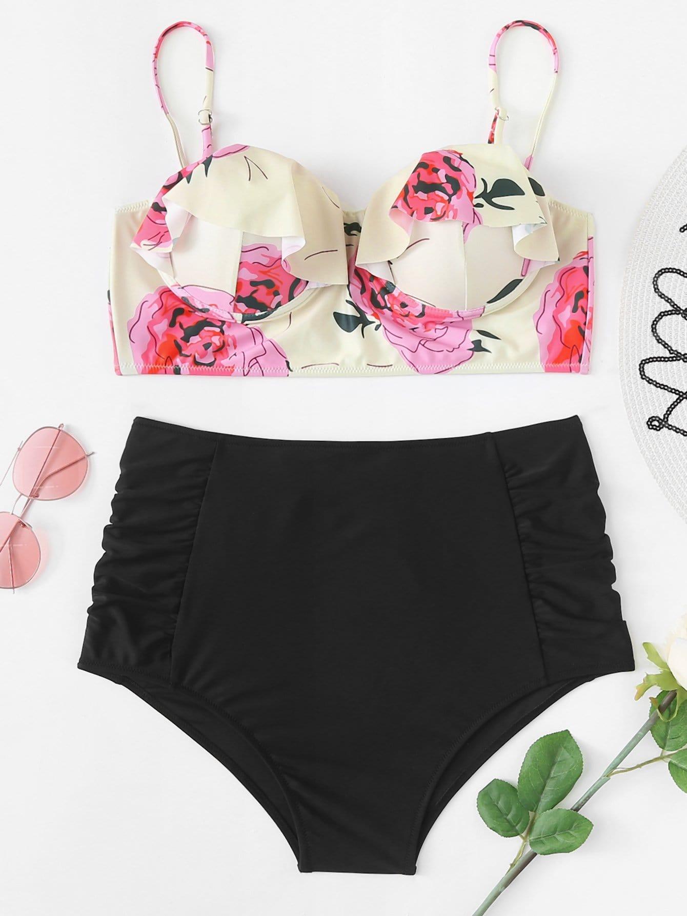 Flower Print Ruffle Bikini Set