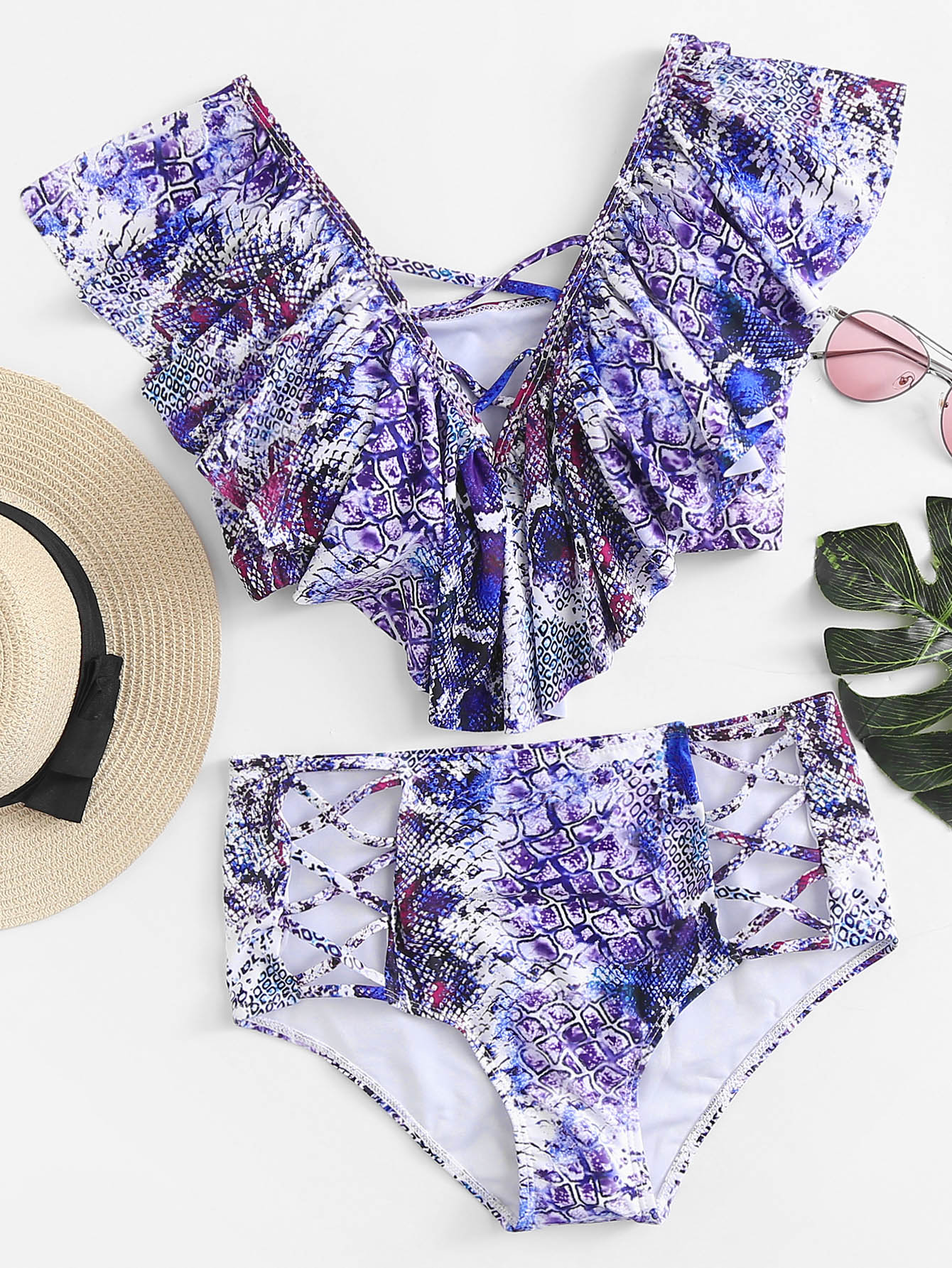 Criss Cross Flounce Bikini Set