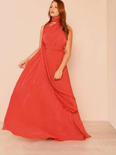 Open Back Tie Waist Maxi Dress