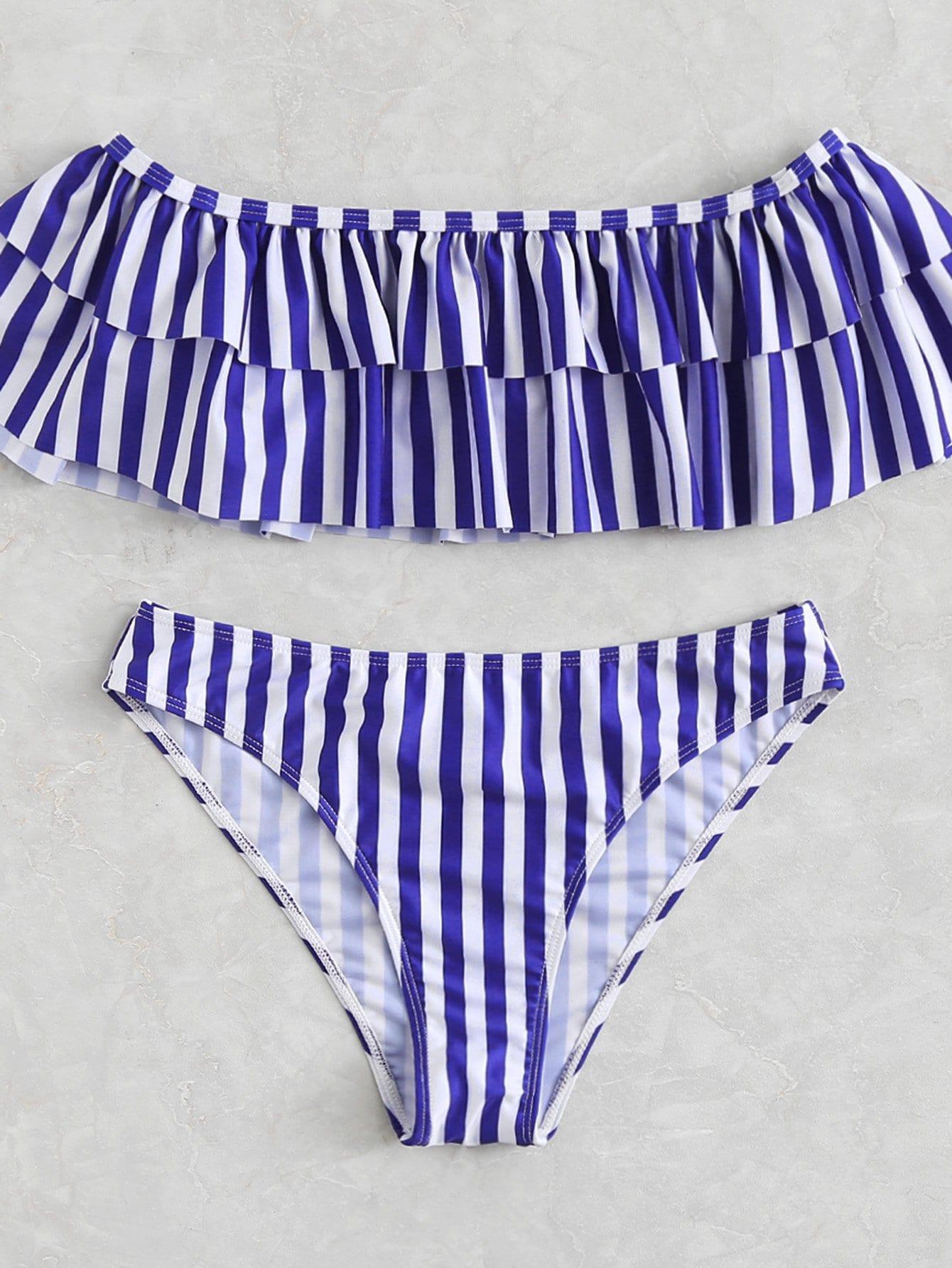 Ruffle Trim Striped Bardot Bikini Set crochet ruffle trim halter bikini set