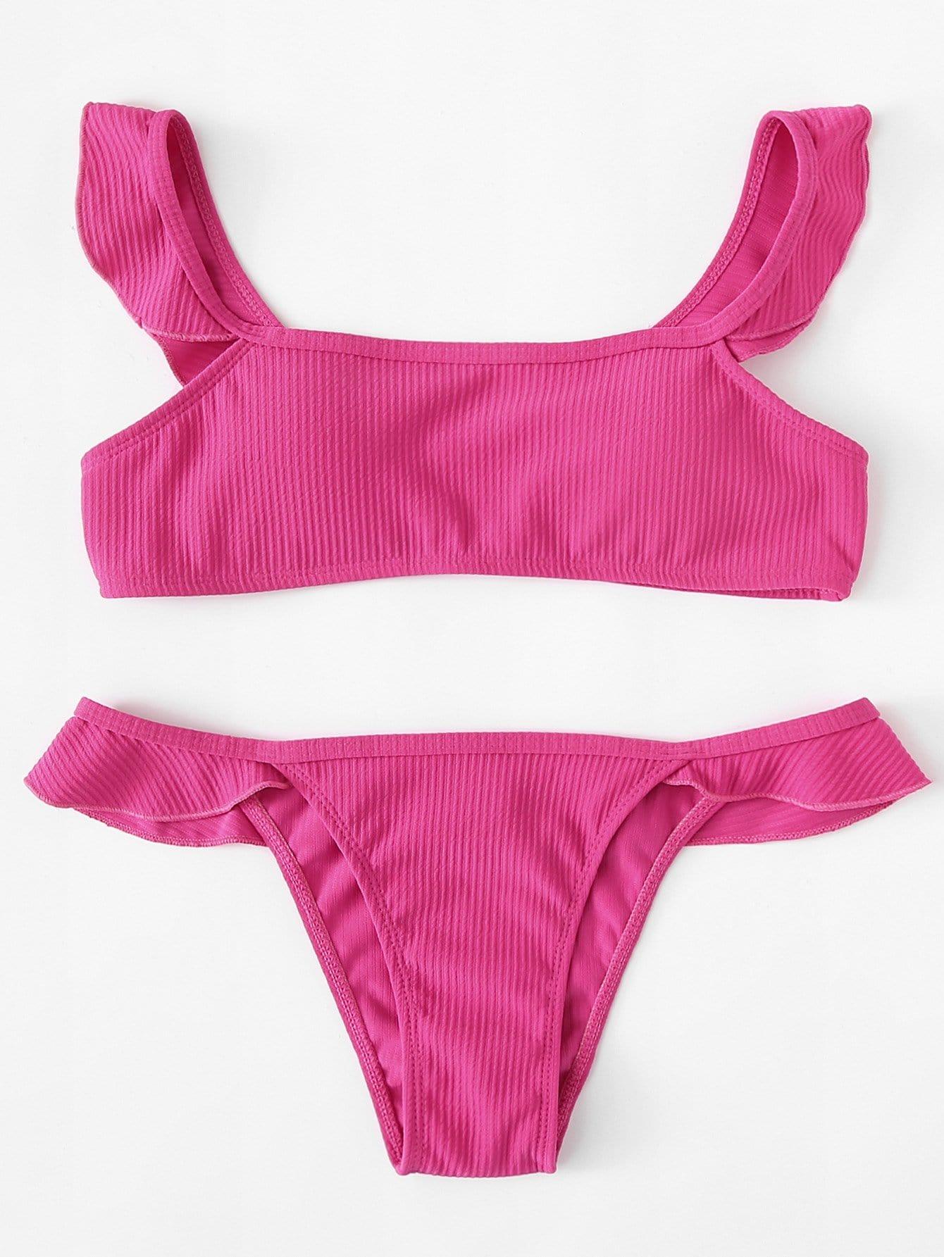 Ruffle Trim Rib Knit Bikini Set rib knit tights