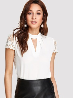 Guipure Lace Sleeve V Cut Top
