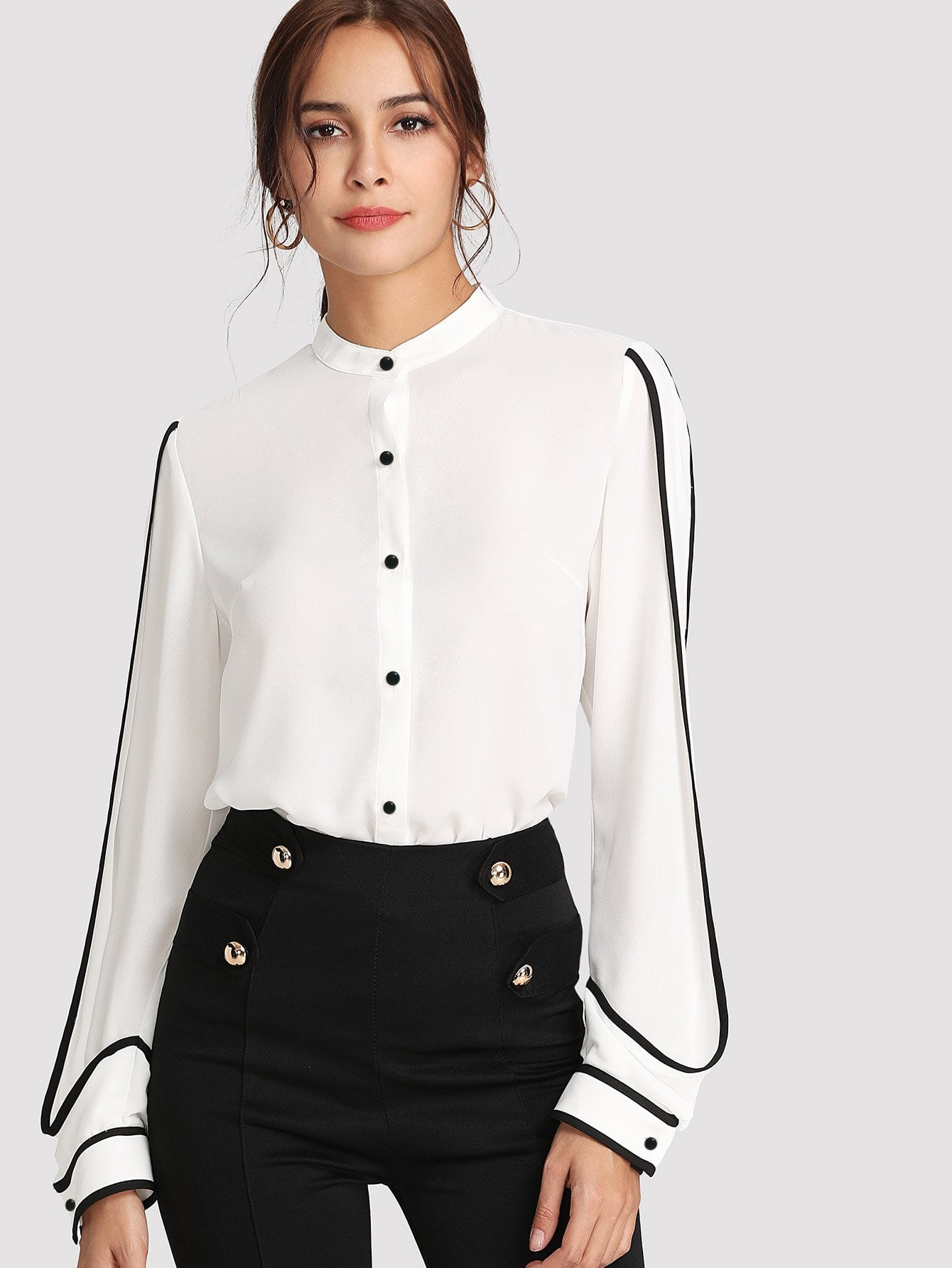 Рубашка контрастная, Giulia, SheIn  - купить со скидкой