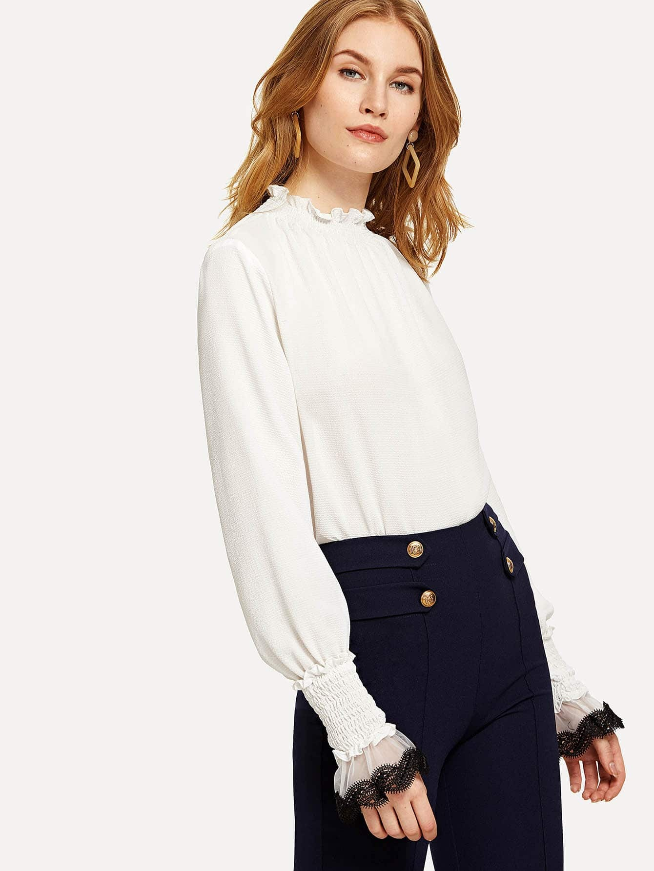 Frill Detail Smocked Neck And Cuff Top sheer dotted blouse with smocked detail