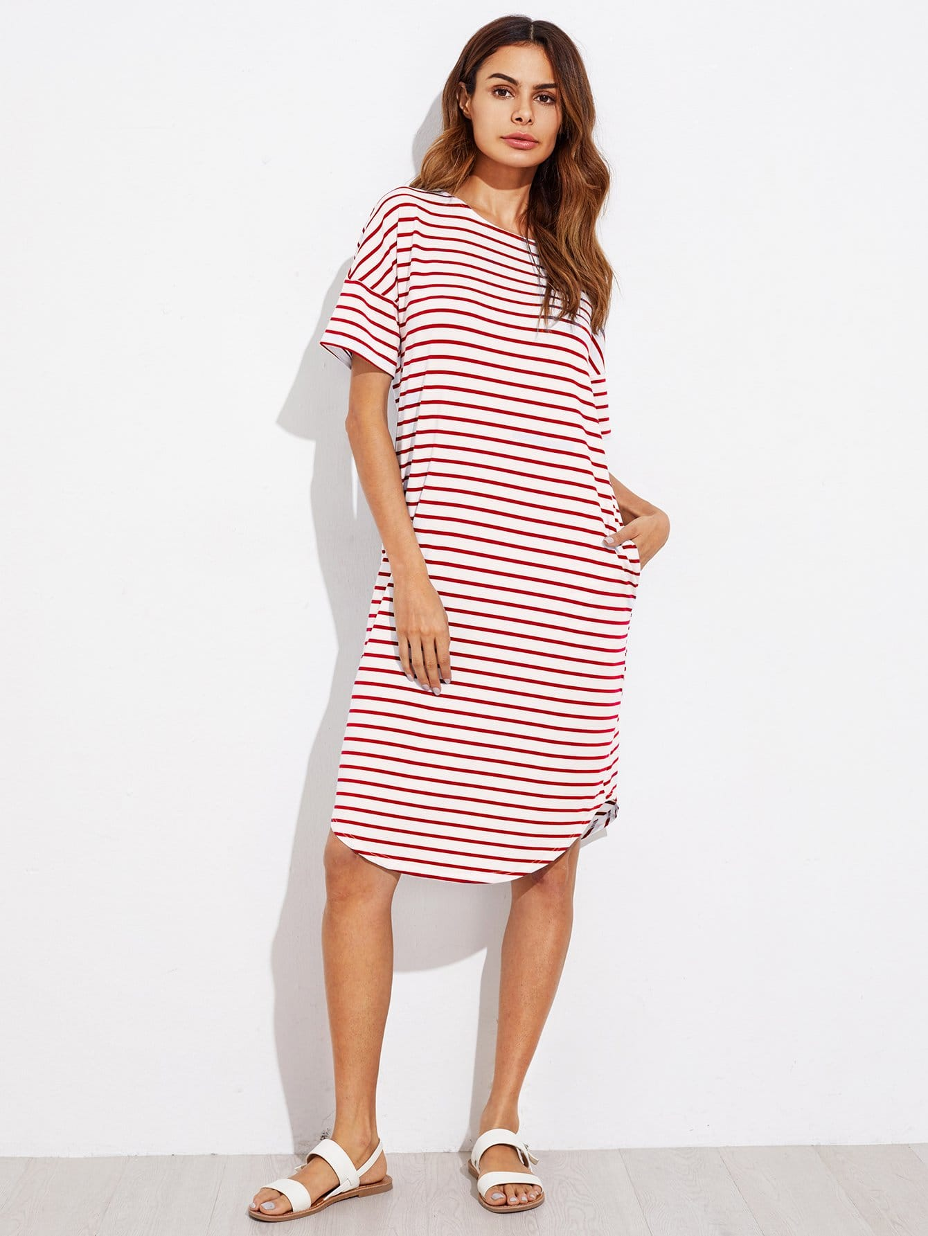 Curved Hem Striped Tee Dress batwing sleeve pocket side curved hem textured dress