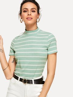 Striped Mock Neck Ribbed Tee