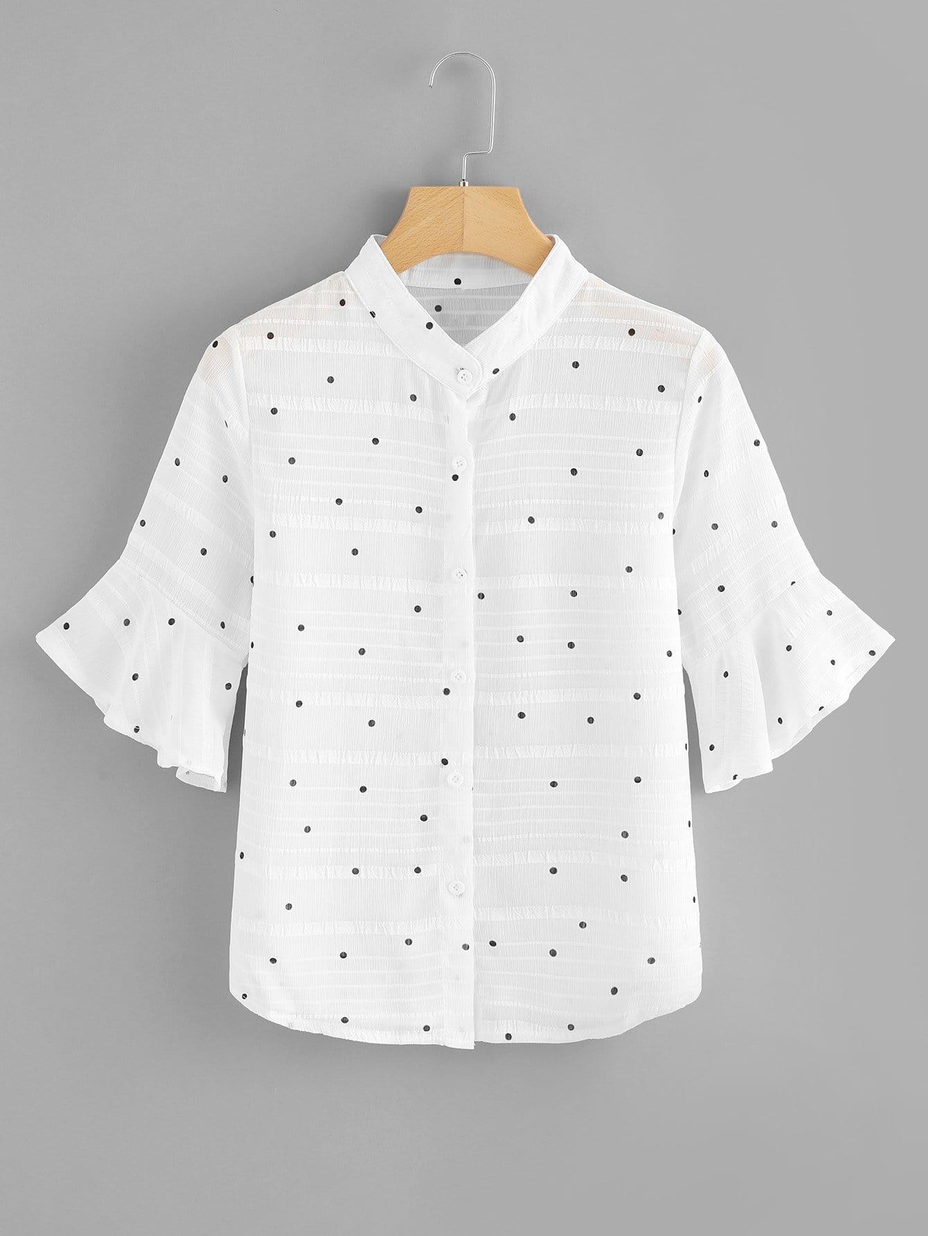 Flounce Sleeve Polka Dot Blouse tiered flounce polka dot blouse