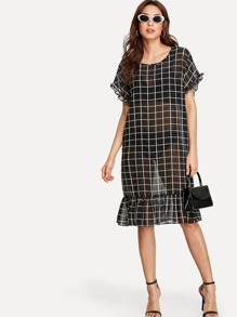 Grid Print Ruffle Trim Sheer Dress