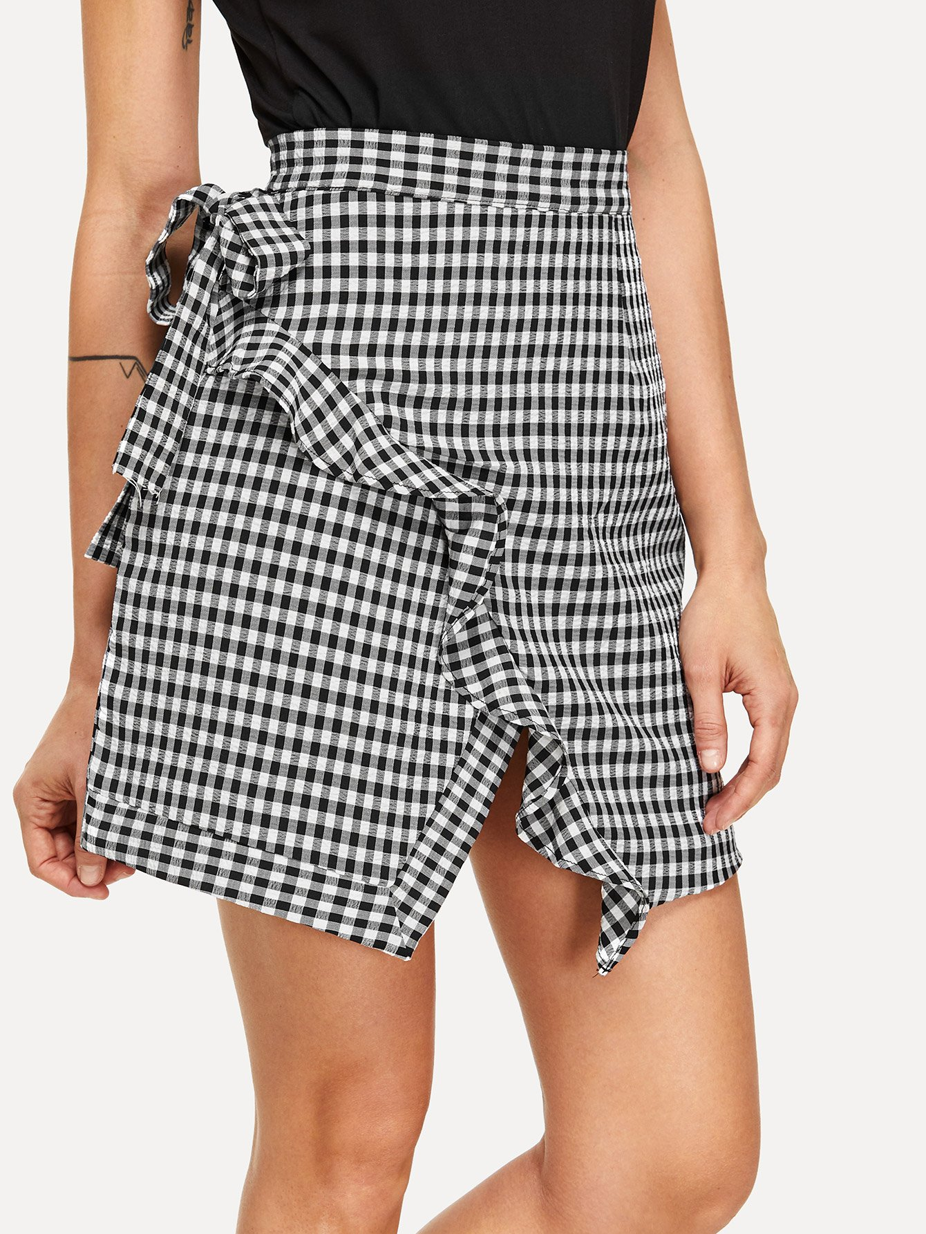 Ruffle Trim Gingham Skirt ruffle waist zip back scallop hem embroidered gingham skirt